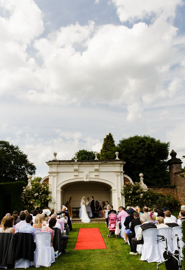outdoor wedding ceremony arley hall